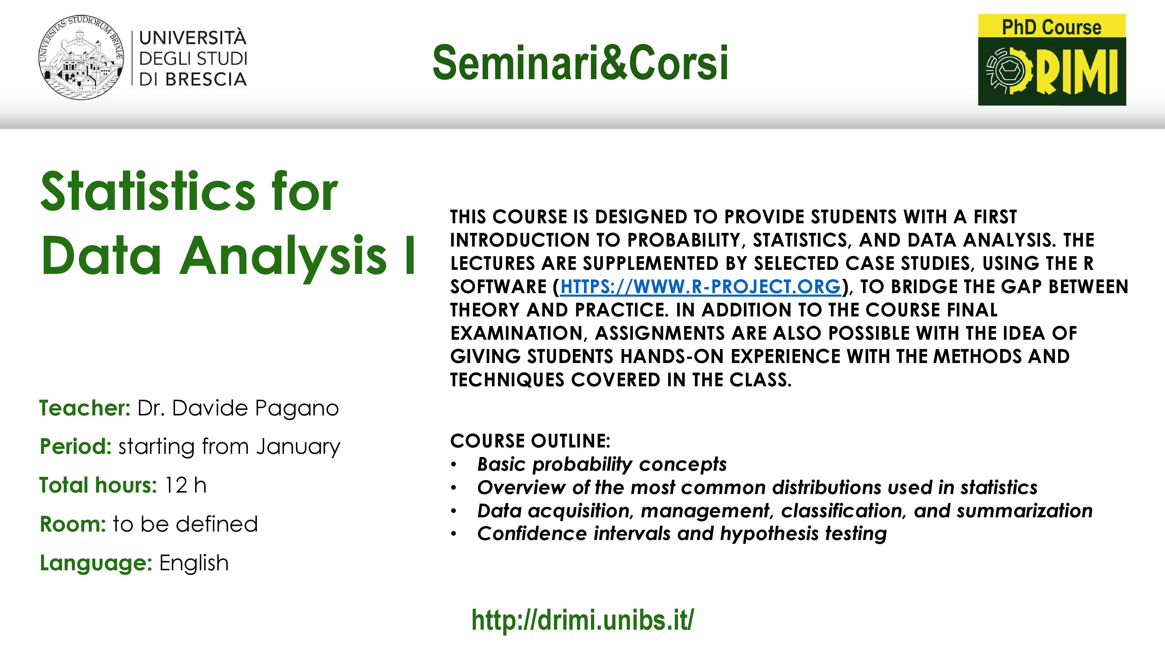 Courses 2019 – DRIMI – Università degli Studi di Brescia